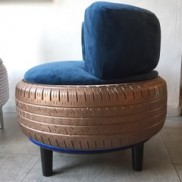 Executive blue ottoman