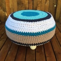 Crochet ottoman in blue and white