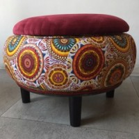 Velvet Topped Red Storage ottoman