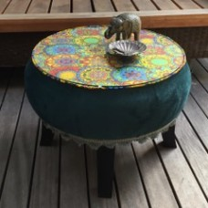 Green and glass side table