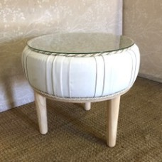 White vynal side table
